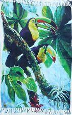 Tropic print, sarong, Tucan, bird, parrot, fabric, wall hanging, green leaves