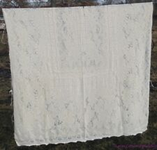 """Vtg Cutter Lace Tablecloth for Crafts Floral Geometric 52"""" x 86"""" Picot Edge FR S"""