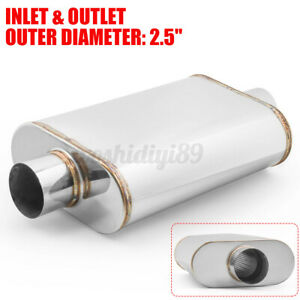 "2.5"" Straight Through Exhaust Muffler Centre Inlet Outlet 14""x9""x4"" 201 Steel"