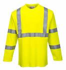 Portwest FR96 FR Long Sleeve Safety Work T Shirt in Reflective Hi Vis ASTM ANSI