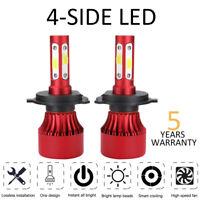 2x CREE H4 HB2 9003 2000W 350000LM 4-Side LED Headlight Hi/Lo Power Bulbs 6500K