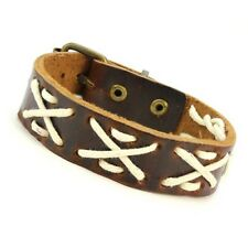 New Punk Rock Cuff Leather Bracelet w/ White X Design and Ancient Bronze Buckle