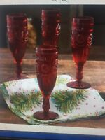 NWT Pioneer Woman Adeline Red 4~ 6oz Flute Drinkware Champagne Holiday Glasses