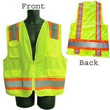 Safety Vest Class II Orange, Lime Green, Silver Reflector Solid Front Mesh Back