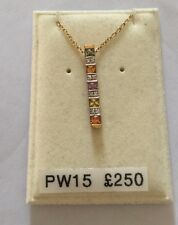 """9ct Gold Pendant (15mm Drop) On 16"""" 9ct Trace Chain - New RRP £250"""