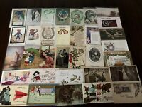 ~Lot of 40 Antique 1900's ~Mixed Topics Greetings Postcards~All with stamps-a960