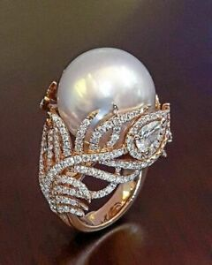 Hot Antique White Pearl Wedding Engagement Rings Women Rose Gold Jewelry Sz 5-12