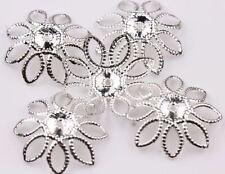 50/100Pcs Gold Silver Filigree Hollow Flower Bead Cap Jewelry Findings DIY 20MM