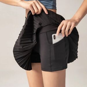 Women's Athletic Golf Skorts Lightweight Skirt Pleated W/ Pocket Running Workout