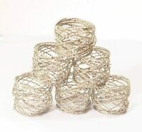 1.5 Inch Round Twisted Spiral Design Silver Napkin Rings Holder -6pcs (Handmade)