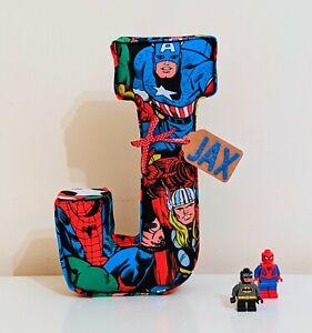 Childrens personalised fabric letters names. Padded. Marvel Superhero Avengers