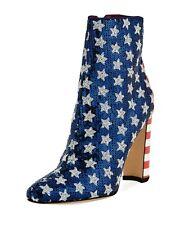 Manolo Blahnik Womens Size 6 Nancy Americana Sequin Ankle Boots
