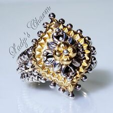Barbara Bixby Marquise Shape Sterling Silver 18K Gold Ring Size 6