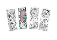 Lesezeichen zum Ausmalen, coloring Bookmarks, Lesezeichen-Set 4-teilig