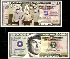 Star Trek Original Cast Full Crew & Mr. Spock Set of 2 Novelty Banknotes CRISP!
