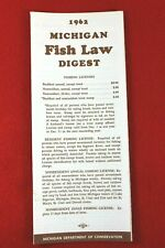 Vintage 1962 Michigan Fish Law Digest - Michigan Department of Conservation