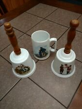 Set of Norman Rockwell Hand Bells & Mug_Off to School_Runaway_Looking out to Sea