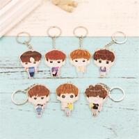 Kpop iKON Acrylic Cartoon Keychain Bobby Chanwoo Cute Keyring key Chain Pendant