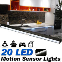 20 LEDS Under Cabinet Light PIR Motion Activated Cupboard Battery Night Lamp Bar