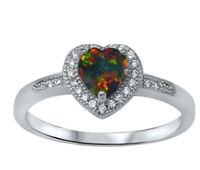 Black Fire Opal Heart with Round CZ Sterling Silver Ring