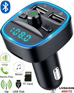 Transmetteur FM sans fil Bluetooth 5.0 Adaptateur MP3 Kit voiture Chargeur USB