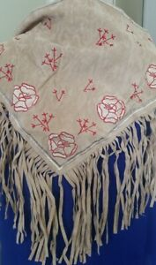 Western Fringe Cowgirl Scarf Triangle embroidered BEIGE Faux Suede Z01-16/22