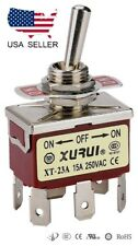 HEAVY DUTY DPDT ON-OFF-ON TOGGLE SWITCH 20A 125V, 15A 250V SPADE TERMINALS (23A)