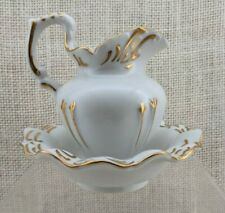 Andrea by Sadek Miniature Pitcher & Bowl - White and Gold - Made in Japan #8161