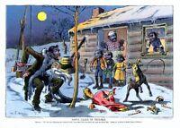 NEGRO CHRISTMAS SANTA CLAUS IN TROUBLE BILLY GOAT RUINS BLACK SANTA SURPRISE