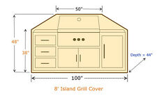 "Premium Tight Weave BBQ Island Grill Covers up to 100""L"
