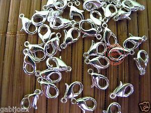 Ganci Moschettoni Chiusure 10mm per Collane Bracciale color Argento Bigiotteria