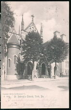 YORK PA St Patrick's Church Antique UDB B&W Postcard