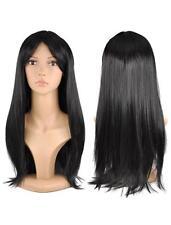 Negro Peluca de pelo largo recto Artificial Disfraces De Mujer Damas Fancy Dress