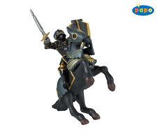 Caballero con armadura negra y caballo caballero y castillos Papo 39275 + 39276