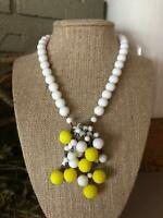 Vintage White & Yellow Beaded Textured Bead Cluster German Necklace Jewelry
