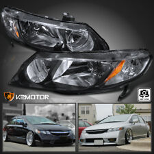 For 2006-2011 Honda Civic Sedan 4Dr Replacement JDM Black Headlights Left+Right