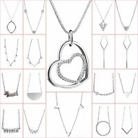 New Brand Sterling 925 Silver Necklace Chain Pendant Charm Fashion Woman Jewelry