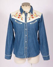 NWT WRANGLER Blue Denim Floral Embroidered Western Rodeo Pearl Snap Top Shirt S