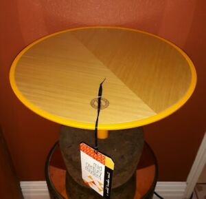 "New DAM Flora 16"" Oak and Cork Mid Century Modern Small Accent Table NWT Yellow"
