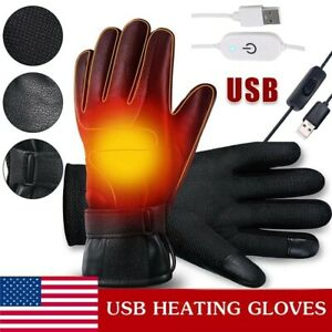 Electric USB Heated Gloves Warmer Hand Rechargeable Outdoor Motorcycle Mittens