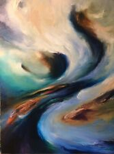 Original Oil Painting Signed Art 18 x 24 - Abstract Storms + freebie