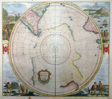 POLKARTE POLUS ANTARCTICUS CUM REGIONIBUS HONDIUS JANSSONIUS SOUTH POLE 1650 #50