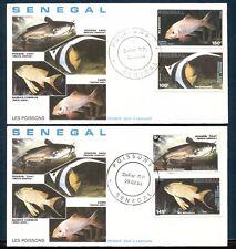 SENEGAL 1988, FISH, Scott 762-765 on 2 CACHETED F.D.C.'S