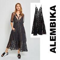 ALEMBIKA D835 Sheer CAMI DOT DRESS Long Layering A-Line S-2X SPRING 2018  BLACK