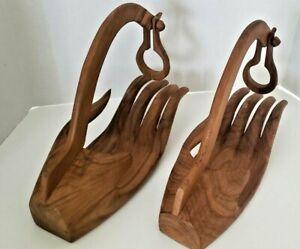Mid Century Modern Art Pair of Hand Carved Hand Danish Modern Wine Bottle Holder