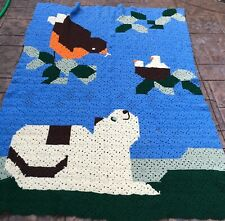 Large Hand Knitted Afghan Throw Birds In Sky, Cat At Bottom 70 X 86 Blue