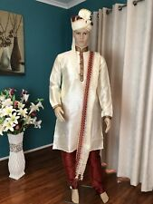 "40"" M To L Sherwani Suit Indian Bollywood Mens Kurta Cream Maroon Outfit HL32"