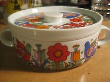 Royal Crown Porcelain Ovenware Paradise Birds Flowers Covered Dish Handles