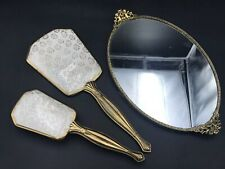 Vintage Victorian-Style Tapestry Vanity Set-Hand Mirror, Brush and Tray - 1960s?