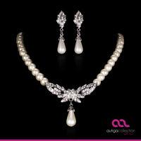 Brautschmuck Schmuckset Perlen Collier Kette Ohrringe Kristall Herz Hochzeit